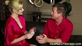 Blonde masseuse railed