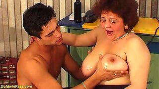 chubby big boob hairy grandma needs hard fucking by her young big cock toyboy