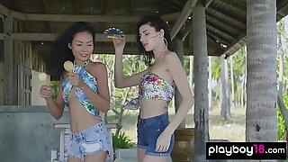 Pale skinned teen stripped and caressed her asian GF