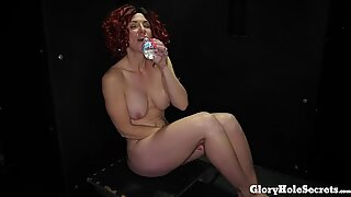Freaky Swinger Molly gagging on cocks in the Gloryhole