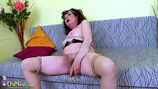 OldNannY good Mature furry snatch Toy Masturbation