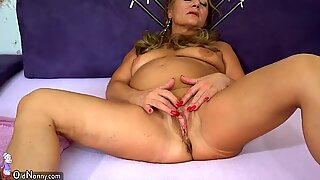 OldNanny mature doing striptease and masturbate pussy