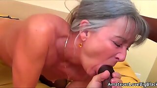 Younger black guy with big cock fucks older grandma
