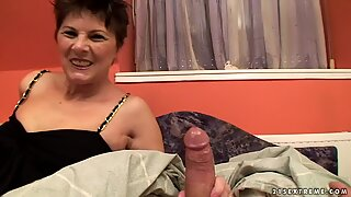 Horny Granny gobbles down on this tasty prick