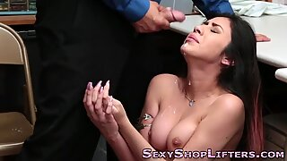 Real amateur gets facial