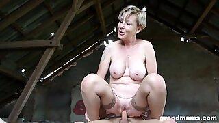 steamy blonde grandmother Sanny ravages her slaveboy GrandMams.com