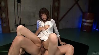 Oriental achives multiple orgasms during 3some