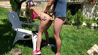 kinky Outdoor ass fucking in Garden by unexperienced Couple