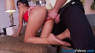 Asian gets soles spunked